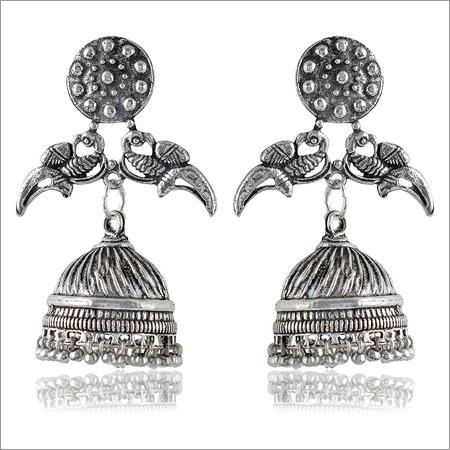 Oxidized Silver Brass Jhumki Earrings