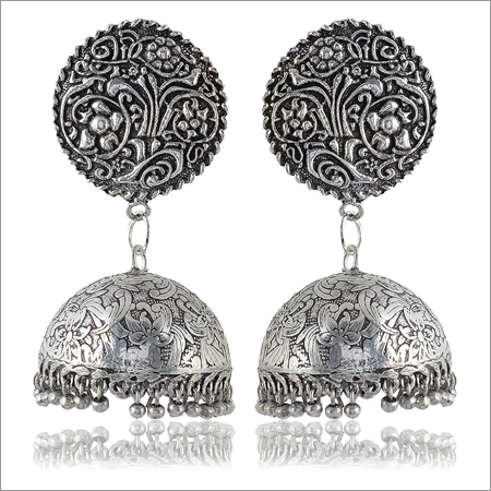 Oxidised Silver Brass Jhumki Earrings for ladies