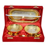 Gold & Silver Plated Brass Bowl Set of 5 Pcs With Box Packing