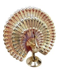 Rastogi Handicrafts Showpiece Dancing Peacock - 18 cm (Brass, Multicolor)