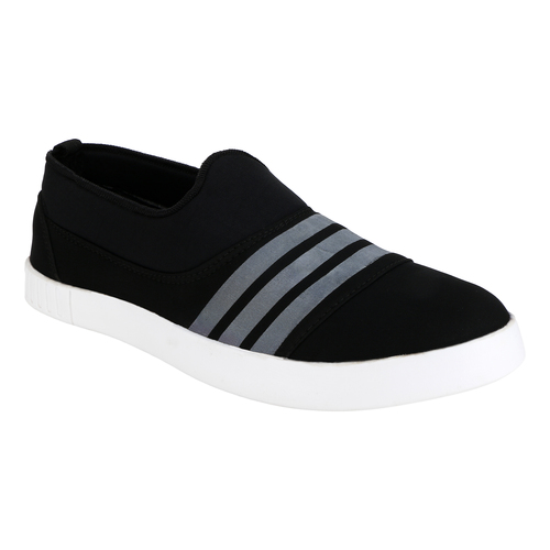 Black Casual Shoes with While Stripes