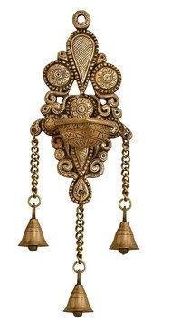 Nexplora Industries Wall Hanging Brass Diya Deepak in Glossy Black Antique Finished
