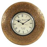 Swagger Flower And Leaf Designer Brass Vintage Wall Clock