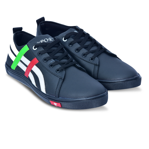 Black with White Stipes Casual Shoes