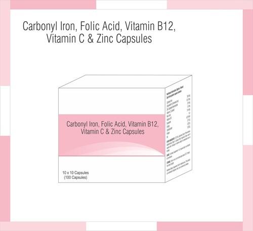 Carbonyl Iron, Folic Acid,Vitamin B12, Vitamin C & Zinc Capsules