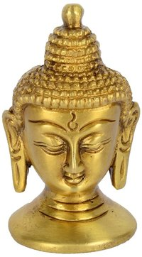Aesthetic Decors Brass Buddha Head Idol