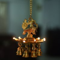 Brass Peacock Deepak With Bells and Yellow Chain Wall Hanging 7 Oil Wick Diya