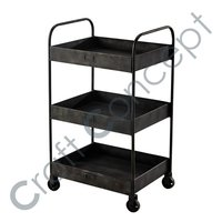 Trolley With Casters in Black Iron