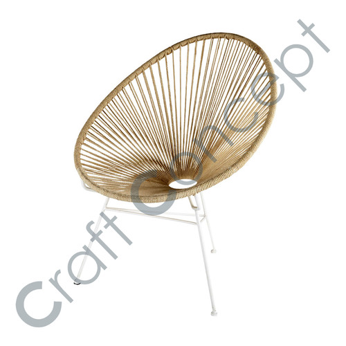 Stackable Garden Armchair With Resin & Cream Iron