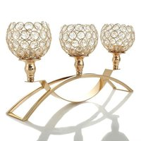 Gold Crystal Candle Holders,Wedding Coffee Table Decorative Centerpiece Candelabra,