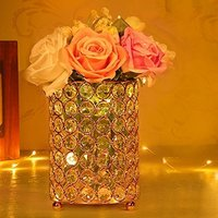 Gold Crystal Candlesticks Decorative Vase with Warm White String Light for Wedding