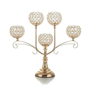 Gold Crystal Candlesticks for Dining Coffee Table Decorative Centerpiece