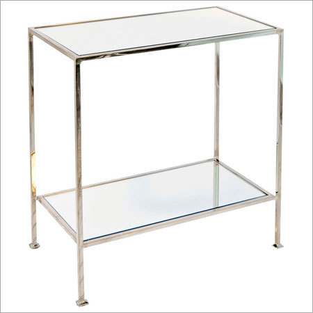 2-Tier Nickel Plated Rectangular Side Table