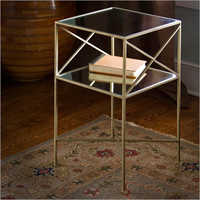 Brass Plated Iron And Glass Square Side Table