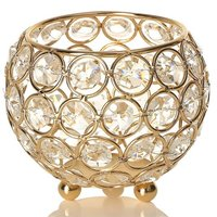 Gold Crystal Tea Light Candle Holders for Wedding