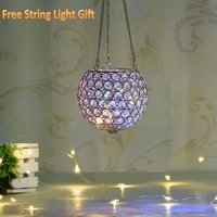 Gold Hanging Crystal Candle Lantern Flower Vase for Christmas
