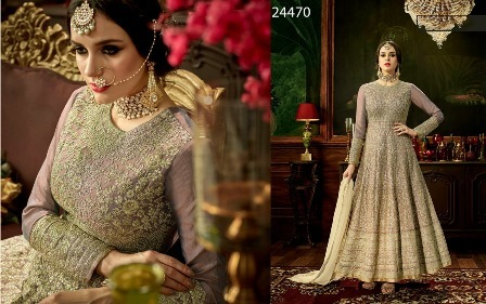 Gray Heavy Designed Anarkali Suit