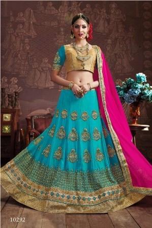 Light Blue Embroidery Designed Lehenga Choli