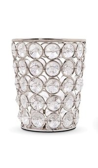 Crystal Look Elegant Tealight Votive - Silver Color Metal Candle Holder Cup