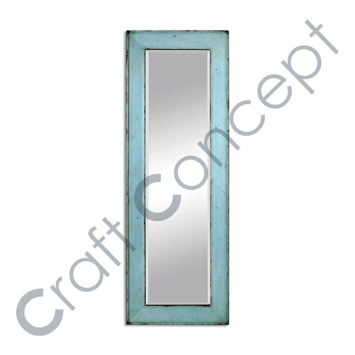 Blue Wooden Rectangle Mirror