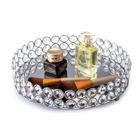 Feyarl Crystal Beads Cosmetic Tray Round Jewelry