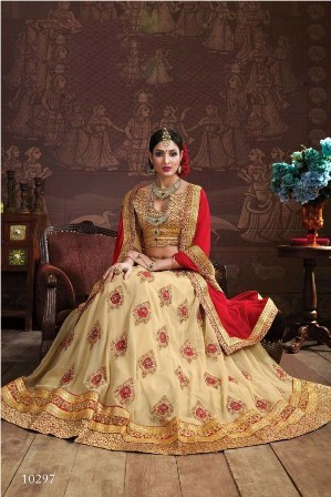 Cream Designer Lehenga Choli