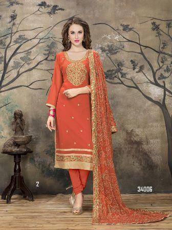 Orange Churidar Salwar Suit
