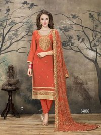 Orange Churidar Salwar Suit