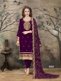 Purple Designer Churidar Salwar Suit