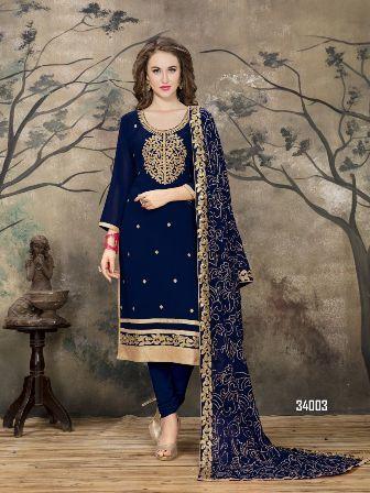 Navy Blue Designer Churidar Salwar Suit