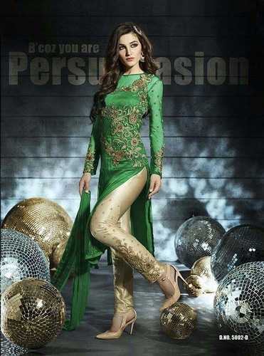 Green Designer Churidar Suit