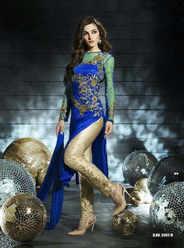Party wear Blue Churidar Suit
