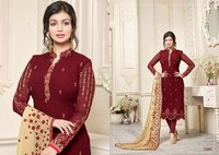 Red Bollywood Designed Churidar Suit