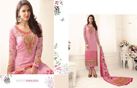 Shiny Pink Embroidery designed Churidar Suit