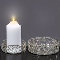 The Silver Smoke Crystal Beaded Candle Plates, Set of 2, Handcrafted,