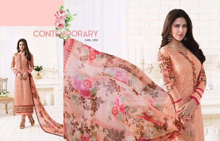Pink Printed And Designed Churidar Suit