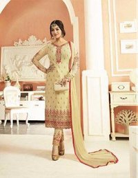 Bollywood Replica Cream Coloured Designer Churidar