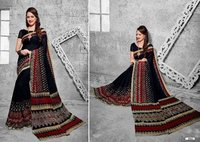 Black Printed Daily Wear Saree
