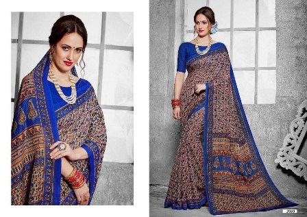 Blue Printed Daily Wear Saree