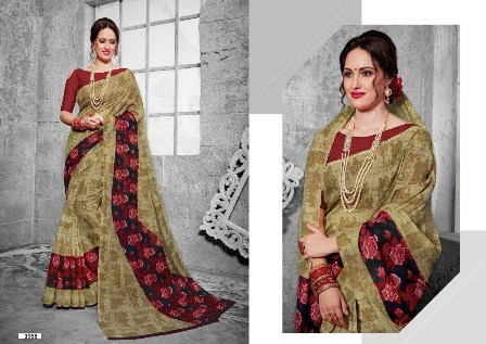Double Coloured Printed Saree