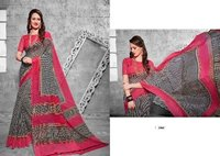 Double Coloured Designed Printed Saree