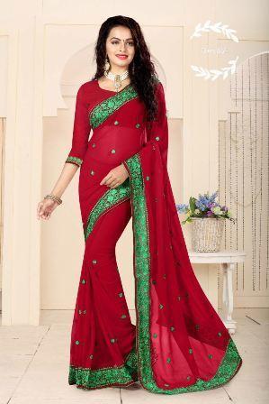 Red Designer Party Wear Saree
