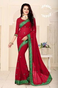 Red Designer Party Wear Saree