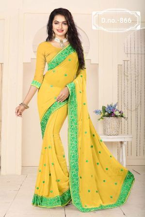 Wedding Wear Yellow Saree