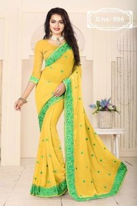 Wedding Wear Yellow Saree