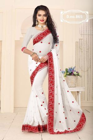 Traditional Wear White Saree