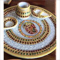 Decorative Marble Pooja Thali