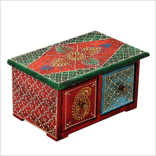 Hand Painted Indian Wooden Chest Drawer
