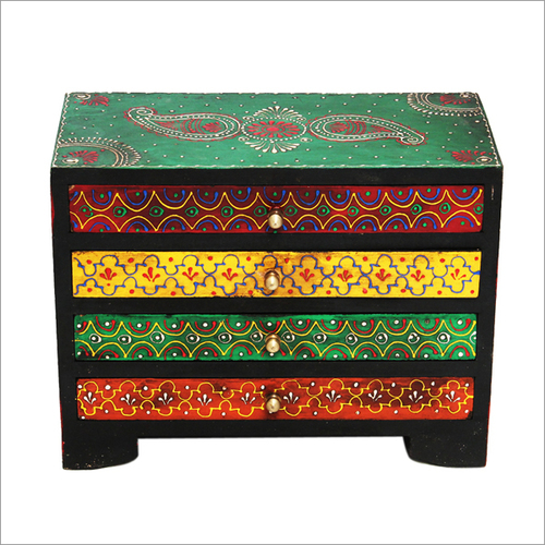 Hand Painted Wooden 4 Drawer Chest