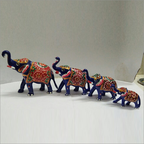 Hand Painted Elephant Lacquer Statue Set